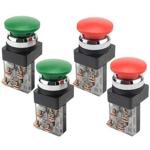 Button Switch Mushroom Push - WMYCONGCONG 4 PCS AC 600V 6A 1NO 1NC DPST 30 mm 1.18