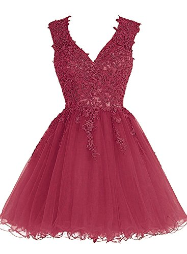 14aa15b33 Homecoming Dress Short Cocktail Dress Lace Homecoming Dresses Tulle  Appliques Prom Dress V Neck