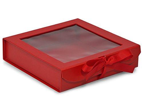 Folding Presentation Boxes - Bulk 8x8x2'' X - Large Red Folding Box Ribbon Closures And Window Lid - (18 Per Pack) - WRAPS-FBB8RE by Miller Supply Inc