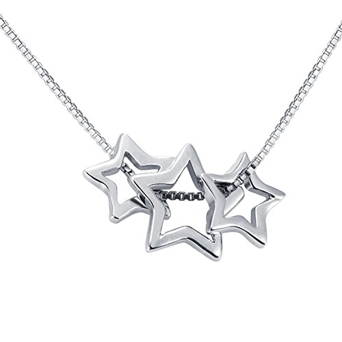 Star Slide Pendant (Paialco 925 Sterling Silver Three Stars Slide Pendant Necklace)