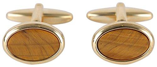 (David Van Hagen Mens Gold Plated Tigerseye Oval Cufflinks - Brown/Gold)