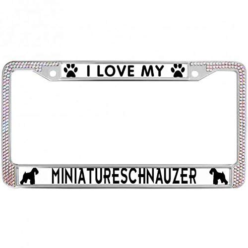 - paipaidiedie Bling Bling Colorful Crystal I Love My Miniature Schnauzer License Plate Frame with Chrome Screw Caps Lovely Pet Dog License Plate Frame Metal Chrome License Plate Frame