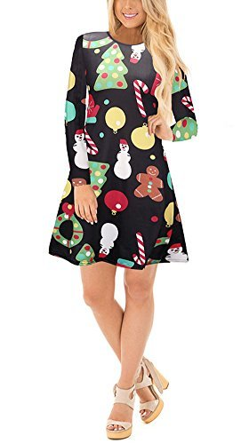 Christmas Santa Print Pullover Long Sleeve Flared A Line Xmas Gifts Party Dress S-5XL (XXXXX-Large, Tree Black) (Santa Christmas Prints)