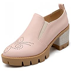 Women's Trendy Round Toe Elastic Loafers Oxfords Pumps Stacked Block High Heel Ankle Booties