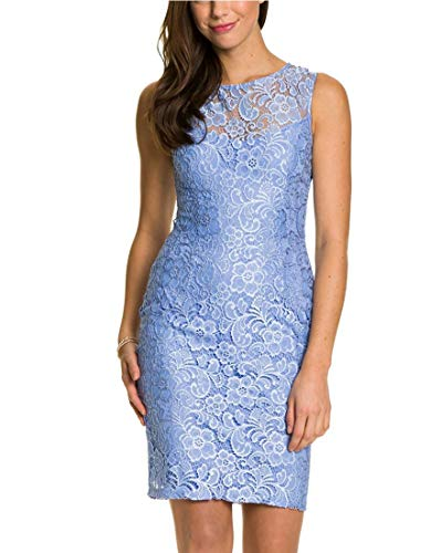 LE CHÂTEAU Elegant Lace Cocktail Dress,S,Pale - Blue Lace Dress Pale
