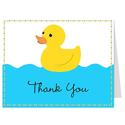 - Rubber Ducky Thank You Cards Baby Shower Sprinkle Theme Birthday Party Thanks Folding Thank You Notes Boys Blue It's A Boy Yellow (50 count)