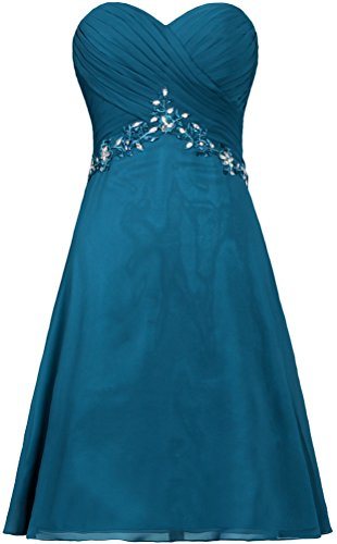 ANTS Dress Strapless Prom Women's Short Teal Blue Gown Party Cocktail Chiffon 1IrInUxW