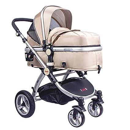 Cochecito de bebé IBEIS de alta calidad 2 en 1 para recién nacidos, plegable, para bebés de 0 a 36 meses dorado arena