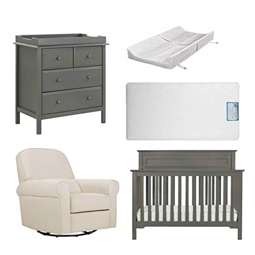 5 Piece Nursery Furniture Set with Mattress & Pad in Gray from Home Square