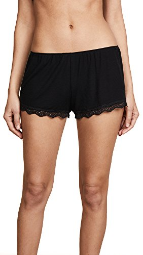 Only Hearts Women's Feather Weight Rib Lace Trim Sleep Shorts, Black, Medium
