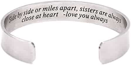 Side By Side Or Miles Apart Bracelet Stainless Steel . Sister to Sister Gift ,Maid of Honor Gift / Bridesmaids Gifts