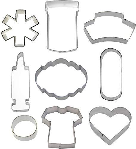 9 Piece Nurse Nursing Cookie Cutter Set
