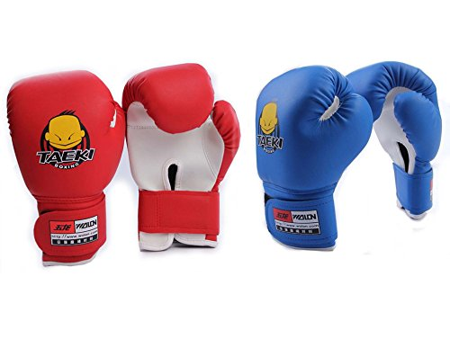 Pairs Blue Red Lovely Children Boxing Gloves Sanda Gloves Mitten Sandbag Fitness Children Training Kids Sport Set by TAEKI