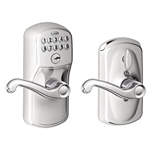Schlage FE595 PLY 625 FLA Plymouth Keypad Entry with Flex-Lock and Flair Style Levers, Bright Chrome