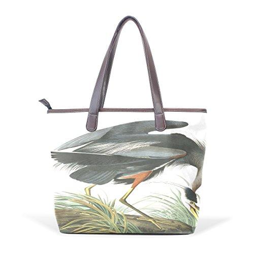 Ye Store Plate Great Blue Heron Lady PU Leather Handbag Tote Bag Shoulder Bag Shopping Bag