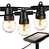 Brightech Ambience Pro - Waterproof Solar LED Outdoor String Lights – Hanging 1W Retro Edison Filament Bulbs - 27 Ft Globe Lights Create Bistro Ambience in Your Yard, Pergola
