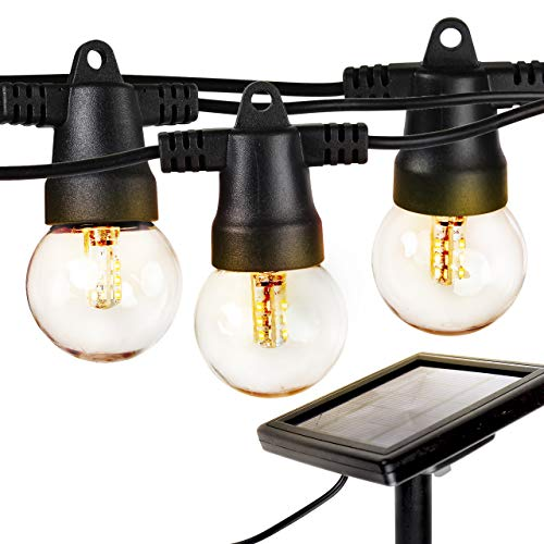 Plastic Lights Solar Hanging (Brightech Ambience Pro - Waterproof Solar LED Outdoor String Lights – Hanging 1W Retro Edison Filament Bulbs - 27 Ft Globe Lights Create Bistro Ambience In Your Yard, Pergola)