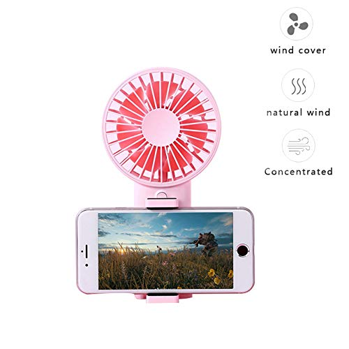 7 inch USB Table Fan with 3 Speed Control,360 Degree Rotation Air Circulator Fan Portable Mini Cooling Desk Fan for Laptop Notebook Office Room Bedroom Outdoor (Fan with Stand-Pink)