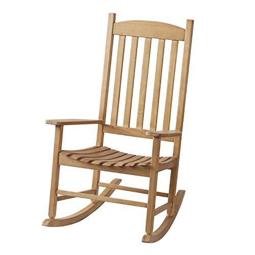 (Wood Slat Outdoor Rocking Chair, Natural)