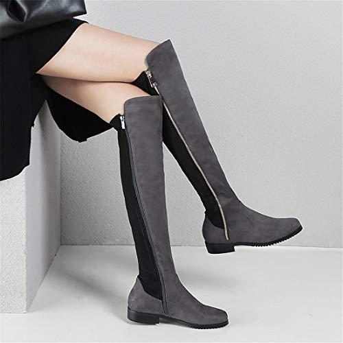da donna donna da Sandalette Stivali gray Stivali casual Stivali donna da DEDE con Scarpe Dark ginocchia wSSqpvF