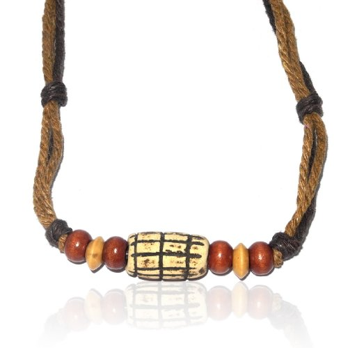 8-12 Inch Tribal Organic Cylindrical Bone Pendant Leather Cord Necklace Jewellery
