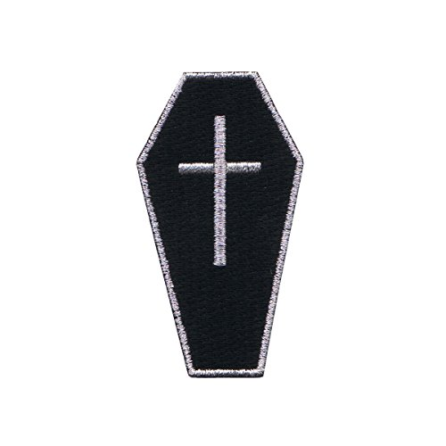 Black Coffin With Cross Patch Casket Bury Gothic Embroidered Iron On Applique (Coffin Patch)