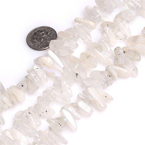 Joe Foreman Moonstone Beads for Jewelry Making Natural Gemstone Semi Precious 5x15mm Genuine Blue Rainbow Pionts Sticks Spike 15