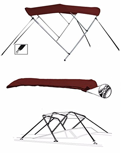 - SBU-CV 7oz Maroon 3 Bow Round Tube Boat Bimini TOP Sunshade for Ranger Angler 1880 VS W/Walk Thru Windshield W/TM 2010-2015