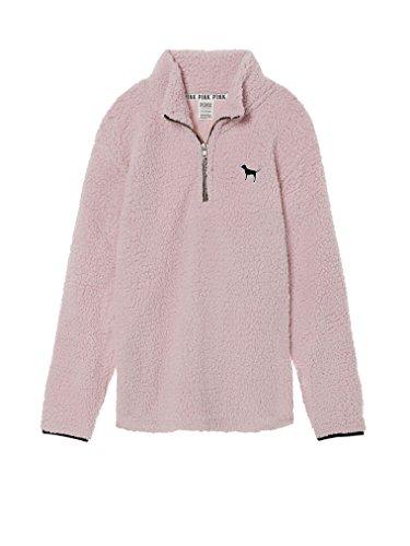 Victoria's Secret Pink Sherpa Boyfriend Quarter Zip Pullover Soft Pink- Small -