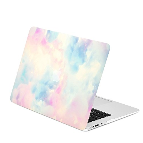 TOP CASE - Watercolor Art Series Rubberized Hard Case Compatible with Apple MacBook Air 11 Model: A1370 / A1465 - Serenity Blue & Pink Cloud