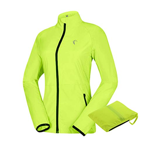 J. Carp Women's Packable Windbreaker Jacket, Lightweight and Waterproof, Outdoor Active Cycling Running Skin Coat, Yellow L