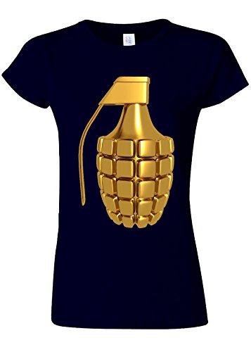 非行本当のことを言うと症候群Golden Plated Grenade Soldier Novelty Navy Women T Shirt Top-XL