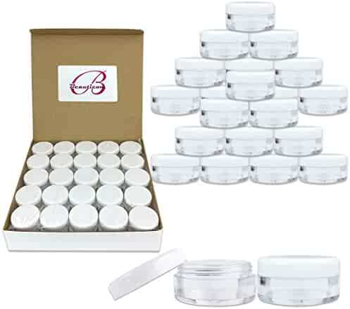 (Quantity: 100 Pieces) Beauticom 5G/5ML Round Clear Jars with White Lids for Acrylic Powder, Rhinestones, Charms and Other Nail Accessories - BPA Free