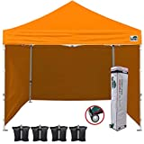 Eurmax 10'x10' Ez Pop-up Canopy Tent Commercial Instant Canopies with 4 Removable Zipper End Side Walls and Roller Bag, Bonus 4 SandBags(Orange)