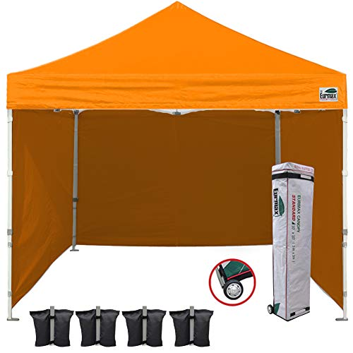 Eurmax 10'x10' Ez Pop-up Canopy Tent Commercial Instant Canopies with 4 Removable Zipper End Side Walls and Roller Bag, Bonus 4 ()