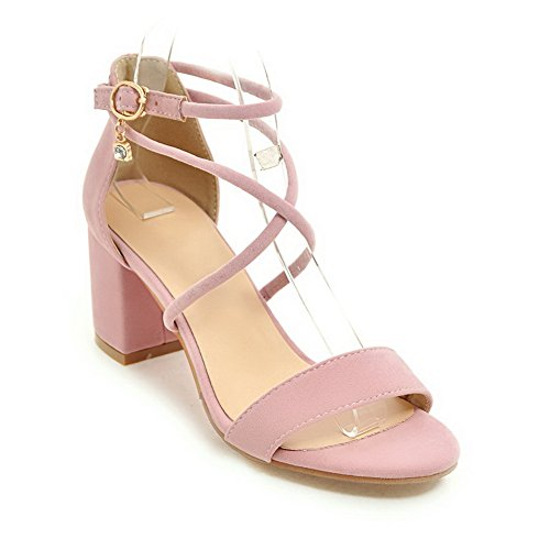 AdeeSu Womens Sandals Peep-Toe Lace-up Adjustable-Strap High-Heel Cold Lining 2.6 Road Nubuck Light-Weight Bootie Urethane Sandals SLC03490 Pink