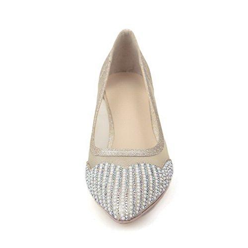 Amoonyfashion Dames Gemengd Materiaal Stevige Pull-on Puntige Dichte Neus Kitten-hakken Pumps-schoenen Goud