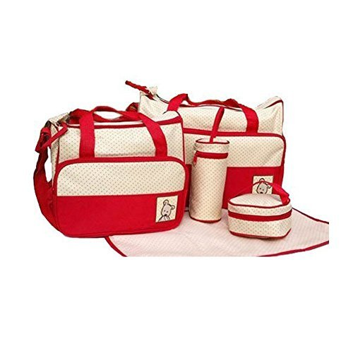 In 5 Colours, 5 Piece Baby Changing Bag - Red by Mayfield Plaza