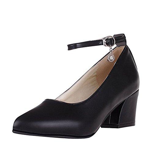 Carolbar Buckle Charm Frauen Block Schuhe Ferse Court Knöchelriemen süße schwarz xqfFZP