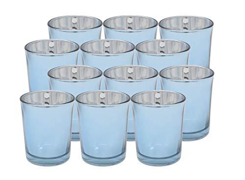 Ms Lovely Metallic Glass Votive Tealight Candle Holders - Bulk Set of 12 - Light Blue (Light Blue Holders Tea)