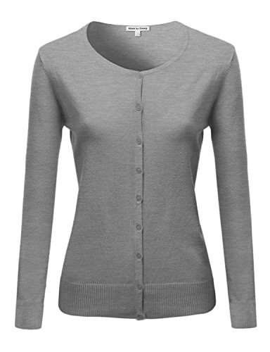 Basic Classic Round Neck Button Up Cardigan Hgray L Size