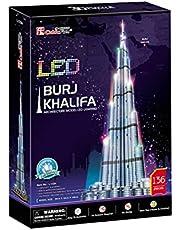 3D Burj Khalifa led-puzzel, 3D-puzzel, volwassenen, modelbouwset voor kinderen, 3D-puzzel, 3D-puzzel, volwassenen, spellen, 136 delen, 240 min.