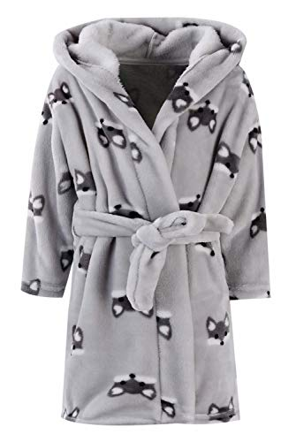 Ameyda Kids Baby Boys Girls Cute Fox Cartoon Plush Robe Fleece Hooded Bathrobe, Gray Fox, US 12/Tag 160