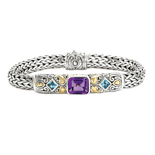 Enchanta Collection Sterling Silver & 18K Amethyst and Blue Topaz -