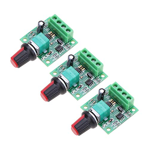 Onyehn 3Pcs 1.8v 3v 5v 6v 7.2v 12v 2A 30W Low Voltage DC Motor Speed Controller PWM 1803BK 1803B Adjustable Driver Switch 3 Pack ()