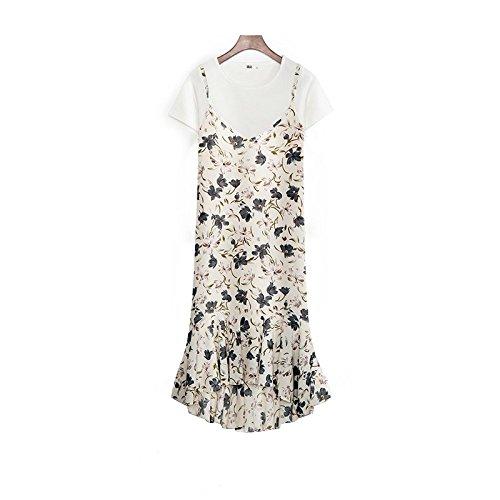 Minces Robe Femme pice Shirt Abricot Jupe Plis Bretelles T 2 de parois Taille Mousseline Couleur XL Robes MiGMV Taille zgnxX6ww