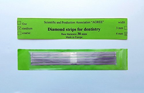 Dental Abrasive STAINLESS STEEL Strips finishing polishing 4mm Medium 5pcs