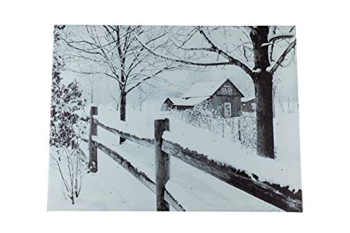 Clever Creations Snowy Farm House Light Up Poster | Sparkling Canvas Wall Art with Bright LED Lighting | 15.75