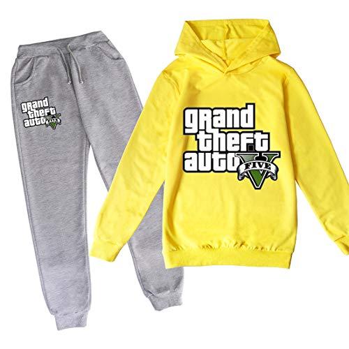 Proxiceen Grand Theft Trui met capuchon en broek, joggingpak, voor jongens en meisjes, 3D-print, sweatshirt, sportswear…