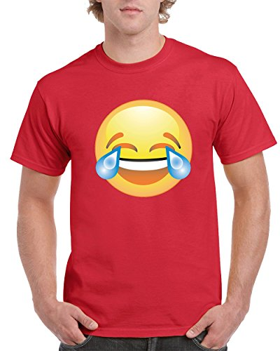 Laughing Man T-shirt (Laughing Tears Emoji LOL Crying Happy Fashion Men's T-Shirts Round NeckTee Shirts for Men(Red,Medium))